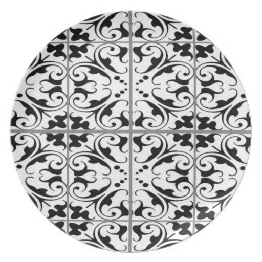 Placa negra y blanca abstracta plato de cena