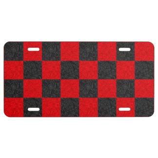 Placa negra y roja del diseño del tablero de damas placa de matrícula