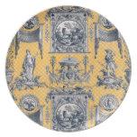 Placa neoclásica amarilla y azul de Toile del fran Plato Para Fiesta
