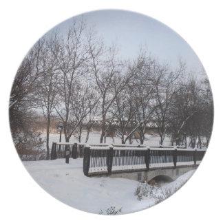 Placa nevada de la trayectoria platos
