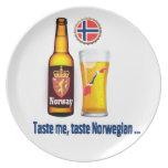 Placa noruega de la cerveza plato