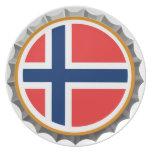 Placa noruega del casquillo de la cerveza plato de cena