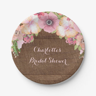 Placa nupcial de la ducha de la acuarela rosada de platos de papel