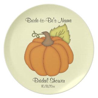 Placa nupcial del recuerdo de la ducha de la calab plato de comida