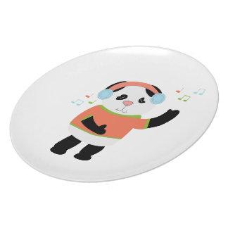 Placa oscilante del oso de panda plato
