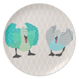 Placa ostentosa del damasco de los cisnes platos para fiestas