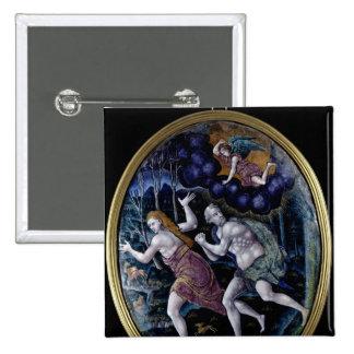 Placa oval que representa Adán y a Eva Pin Cuadrado