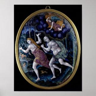Placa oval que representa Adán y a Eva Póster