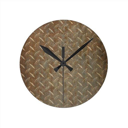 Placa oxidada del diamante reloj redondo mediano