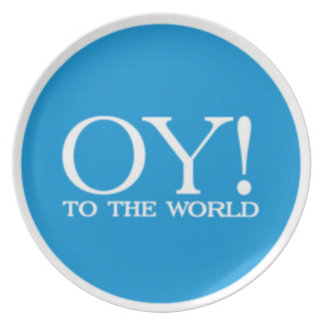 ¡Placa Oy de Hanukah al mundo! (Azul) Plato