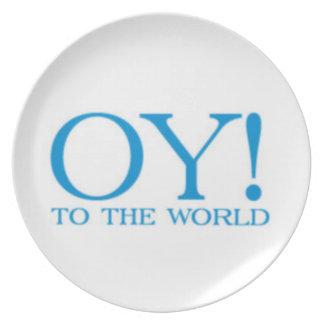 ¡Placa Oy de Hanukah al mundo! (Blanco) Plato De Cena