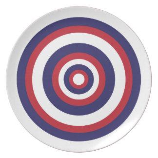 Placa patriótica blanca y azul roja plato