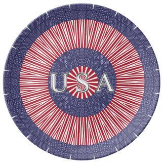 Placa patriótica de la porcelana de los E.E.U.U. Platos De Cerámica
