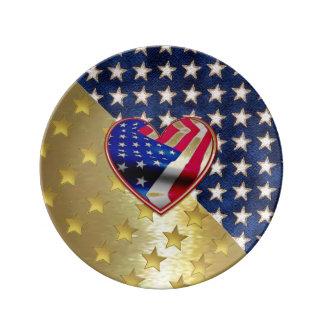 Placa patriótica de Porcelin del oro Plato De Cerámica