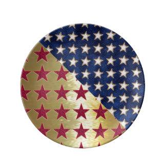 Placa patriótica de Porcelin del oro Platos De Cerámica