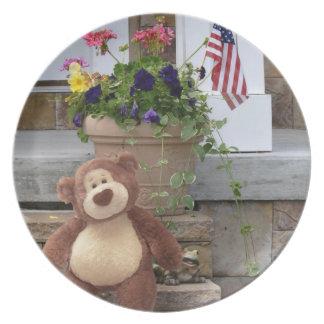 Placa patriótica del oso de peluche plato