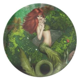 Placa pelirroja de la sirena plato
