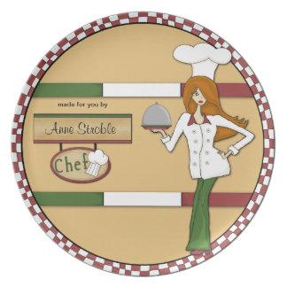 Placa pelirroja personalizada personalizado del co plato de comida