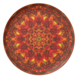 Placa peluda de la mandala del Rojo-Ocre Plato