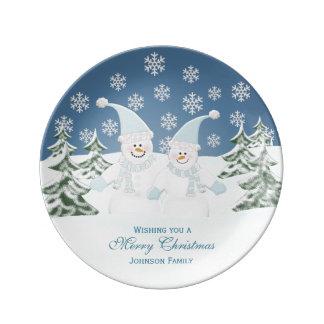 Placa personalizada 2 de la porcelana del muñeco platos de cerámica