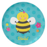 Placa personalizada abeja linda de la melamina plato de cena