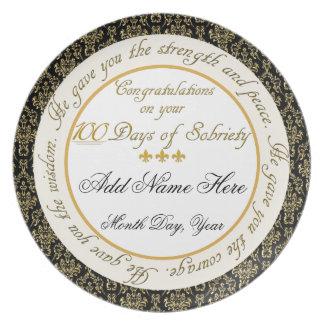 Placa personalizada de la exhibición de la sobried plato de comida
