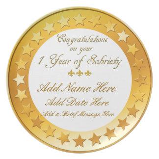Placa personalizada de la exhibición de la sobried platos para fiestas