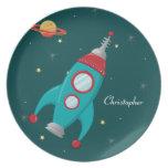 Placa personalizada de la nave del cohete del espa plato de comida
