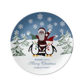 Placa personalizada de la porcelana de Santa y del Plato De Cerámica