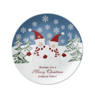 Placa personalizada de la porcelana del muñeco de plato de cerámica