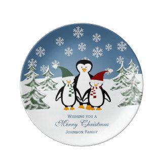 Placa personalizada de la porcelana del pingüino platos de cerámica