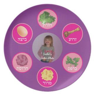 Placa personalizada de Seder (púrpura/hebreo) Platos