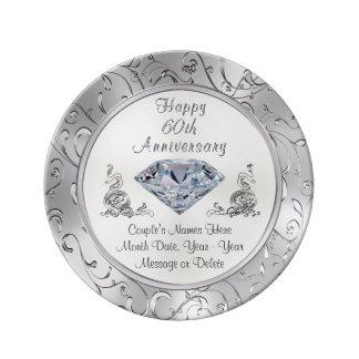 Placa personalizada del aniversario del diamante plato de cerámica