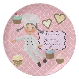 Placa personalizada del cocinero del panadero del  platos de comidas