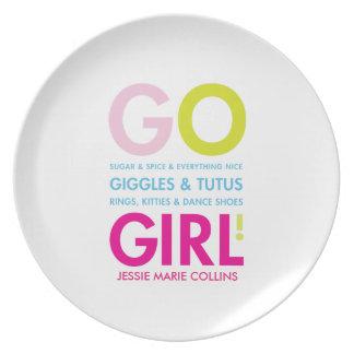Placa personalizada del regalo de la niña del plato