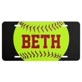 Placa personalizada del softball placa de matrícula