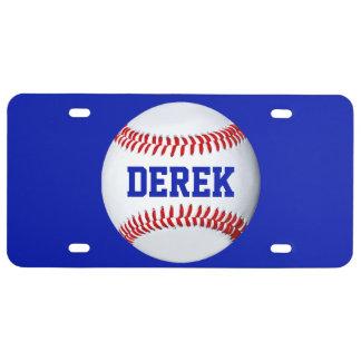 Placa personalizada del tema del béisbol placa de matrícula