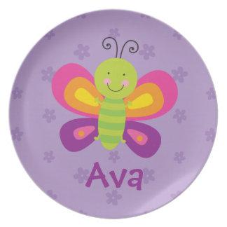 Placa personalizada mariposa colorida de la plato de comida