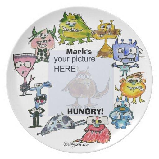Placa personalizada monstruos hambrientos del dibu plato de cena