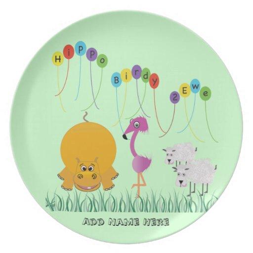 Placa personalizada oveja de Birdy 2 del hipopótam Platos De Comidas