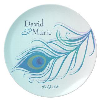 Placa personalizada pluma del recuerdo del pavo re plato de cena