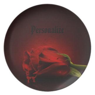 Placa personalizada sangrienta gótica del rosa roj plato de cena