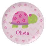 Placa personalizada tortuga rosada de la melamina  plato para fiesta