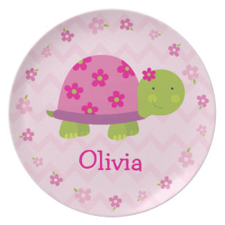 Placa personalizada tortuga rosada de la melamina platos de comidas