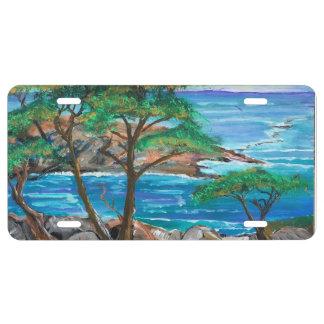 Placa pintada de la escena de la isla placa de matrícula