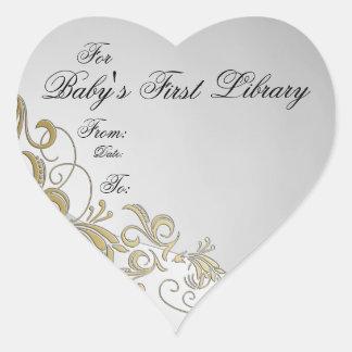 Placa-Plata y oro 3 del libro de la primera bibl Pegatina De Corazón