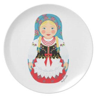 Placa polaca de Matryoshka del chica Plato Para Fiesta