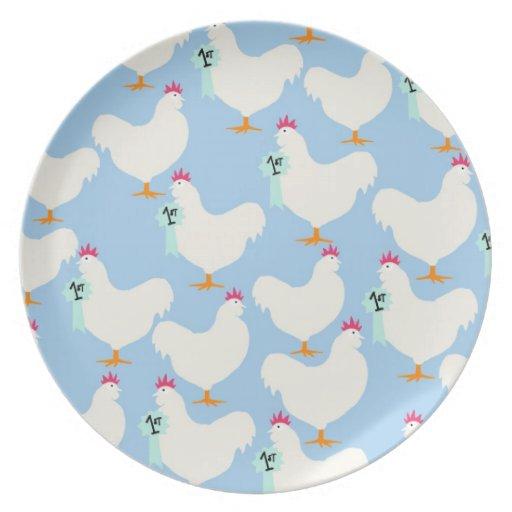 Placa premiada de las gallinas en azul plato para fiesta
