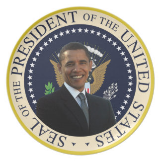 Placa presidencial del sello de Barack Obama Plato Para Fiesta