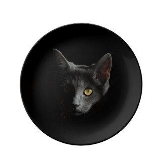 Placa provocada de la porcelana del gato negro plato de cerámica